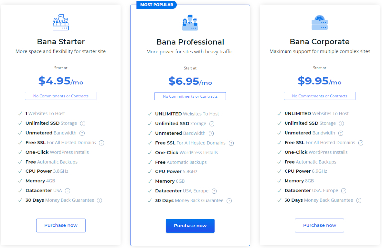 banahosting pricing
