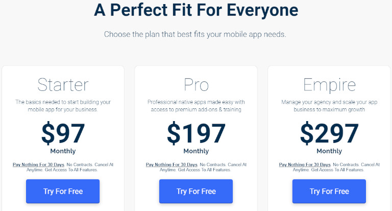 No code mobile app builder pricing
