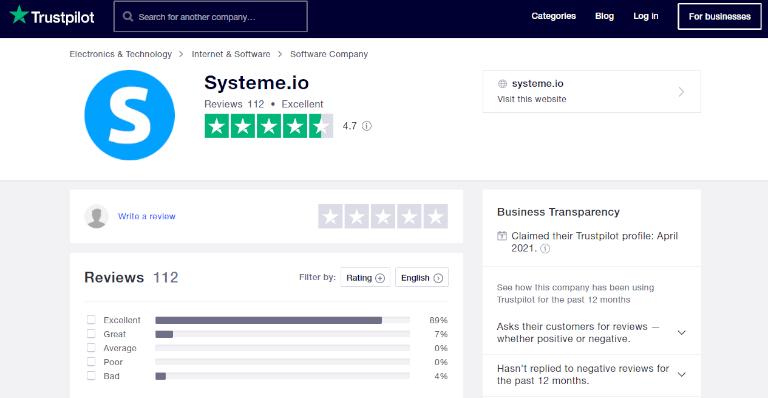 Systeme.io in Trustpilot